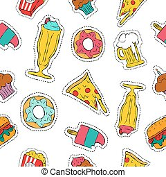 90s retro fast food patch icon seamless pattern - Hand drawn...