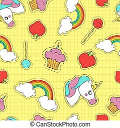 Cute hand drawn stitch patch icon seamless pattern -...