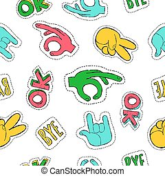 Retro 90s style hand sign patch seamless pattern