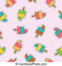 Ice cream popsicle patch icon seamless pattern