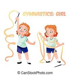 menina, vetorial, ginástica, Ilustração