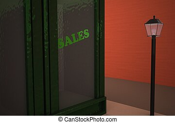 """Shop with """"sales"""" word in showcase"""