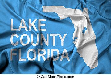 Waving Flag of Lake County, Florida, USA