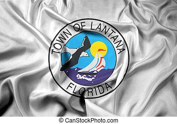Waving Flag of Lantana, Florida, USA