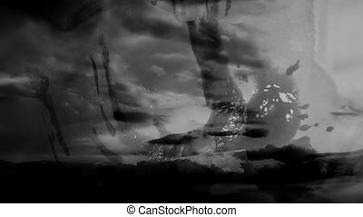 Horror black and white flashes - Horror black and white man...