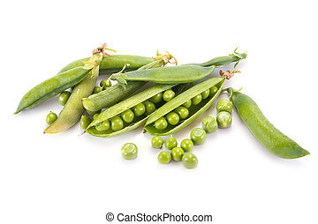 Pods of green peas - Plant peas are isolated on a white...