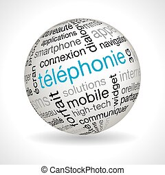 French telephony theme sphere vector with keywords