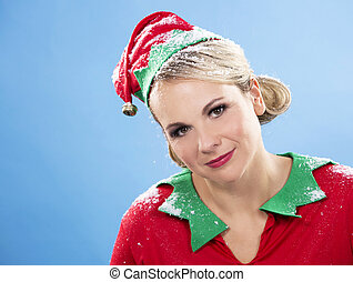 blond elf female - blonde woman wearing elf christmas...