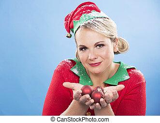 blond elf female - blonde woman wearing elf christmas...