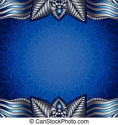 Blue frame with vintage silvery pattern