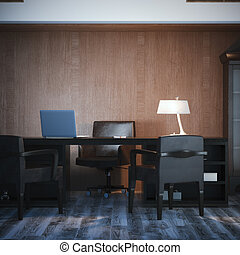 Interior with classical workplace 3d rendering - Interior...