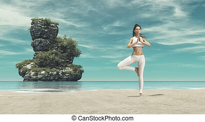 Young woman silhouette practicing yoga on the sea beach,...