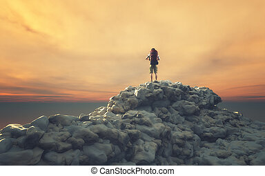 Man with backpack on a rock