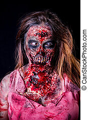 Cross-eyed Zombie girl - Portrait of zombie girl with...
