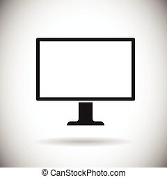Desktop Monitor Workstation Blank Empty Screen Icon Vector...