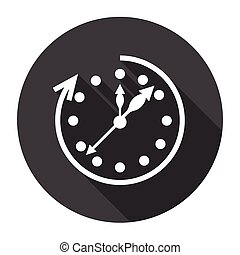 Clock Time Black Web Icon Flat Vector Illustration