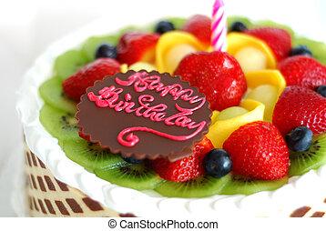 蛋糕, 混合, 生日, 水果