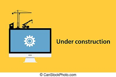 under construction concept with pc computer monitor gear icon crane construct and yellow background