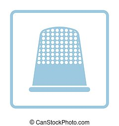 Tailor thimble icon Blue frame design Vector illustration