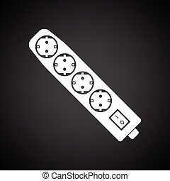 Electric extension icon. Black background with white. Vector...