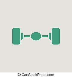 Car rear axle icon. Gray background with green. Vector...