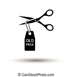 Scissors cut old price tag icon. White background with...
