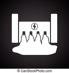 Hydro power station icon. Black background with white....