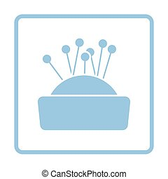 Pin cushion icon. Blue frame design. Vector illustration.