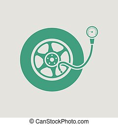 Tire pressure gage icon Gray background with green Vector...