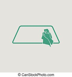 Wipe car window icon Gray background with green Vector...