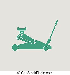 Hydraulic jack icon. Gray background with green. Vector...