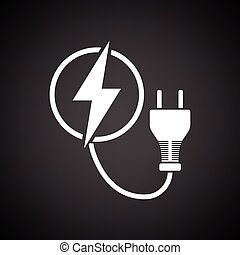Electric plug icon. Black background with white. Vector...