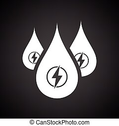 Hydro energy drops icon. Black background with white. Vector...