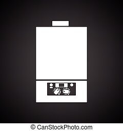 Gas boiler icon. Black background with white. Vector...