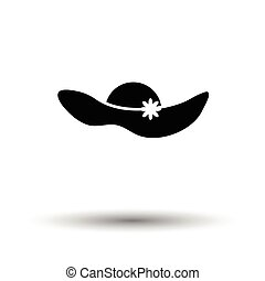 Elegant woman hat icon White background with shadow design...
