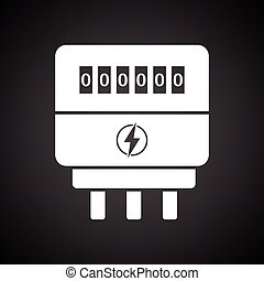 Electric meter icon. Black background with white. Vector...