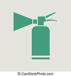 Extinguisher icon. Gray background with green. Vector...