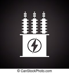 Electric transformer icon. Black background with white....