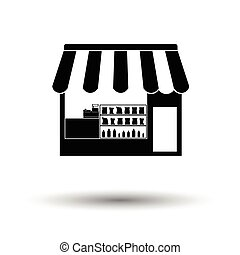 Tent shop icon. White background with shadow design. Vector...