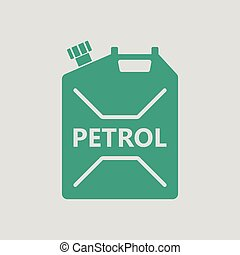 Fuel canister icon. Gray background with green. Vector...