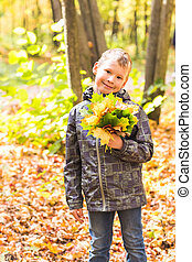 Happy cute boy with autumn leaves in the park