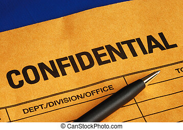 Pen on the confidential envelope isolated on blue