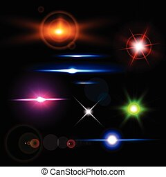 Collection of realistic light glare, highlight. Collection of beautiful bright lens flares. Lighting effects of flash