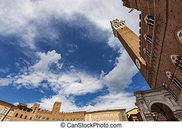 Piazza del Campo in Siena - Detail of the Piazza del Campo...