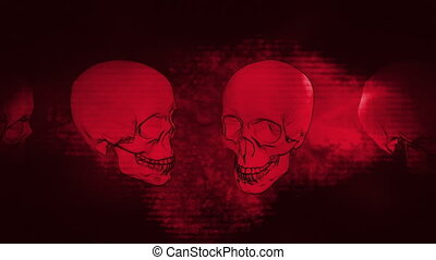 Skulls red grunge horror strobe - Halloween skulls red...