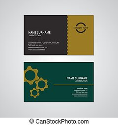set of two business cards with gears, USA standard