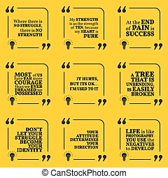 Set of motivational quotes about struggle, strength, courage, pain, identity, achievement, success, attitude and strong spirit. Simple note design typography poster.