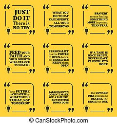 Set of motivational quotes about action, bravery,...
