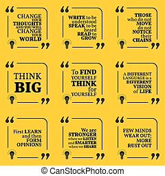 Set of motivational quotes about learning, thinking, optimism, finding yourself, vision, freedom and personal development. Simple note design typography poster.