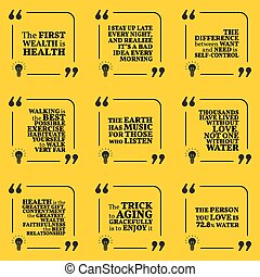 Set of motivational quotes about health, self-control,...